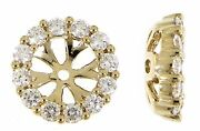Solid 14k Yellow Gold Real Diamond Round Jacket Earrings 0.63ct Christmas Gift