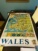 Wales Royal Badge Of Wales  Frederick Griffin Rare Original Poster 1950's