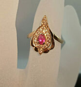Ring Unique Retro Vintage Oriental Style Russian Jewelry Red Gold 14k 585 Ruby