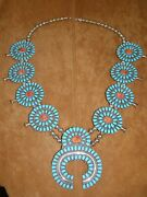 Vintage Cluster Squash Necklace - Lmb-- Sterling Silver Turquoise.and Shell