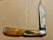 """Ka-bar Grizzly 1991 Cc Folding Knife Stainless Steel Maple Wood Handle 5.3"""" Cls"""