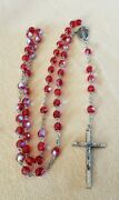 Vintage Rosaries, Red Iridescent Aurora Borealis Crystal Beads , 22 Italy
