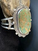 Mens Native American Navajo Sterling Silver Royston Turquoise Cuff Bracelet 1163