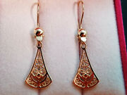 Earrings Pendant Filigree Vintage Style Russian Gold 14k 585 Without Stones