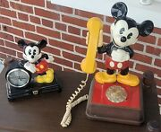 Vintage 1976 The Mickey Mouse Phone Rotary Dial Telephone Walt Disney And Clock