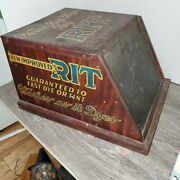 Antique Rit Dye Store Display Cabinet With Contents And Vintage Rack Sign