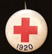 1920 Red Cross Pin-back 15mm Button Made By American Art Works Coshocton Ohio Oh