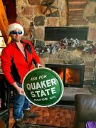 Vintage 1959 24in Metal Quaker State Motor Oil Bubble Button Sign