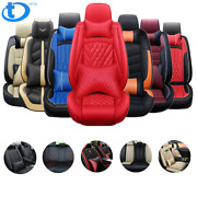 5 Seats Car Seat Covers Deluxe Pu Leather Full Set W/ Pillow 14pc Universal Fit
