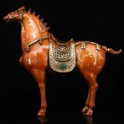 12.9 Collect Chinese Bronze Inlay Gem Gilding Fine Horse Steed Statues