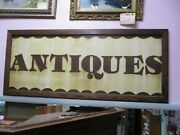 Large Vintage Hand Painted Antiques Wood And Metal Sign 63 X 27