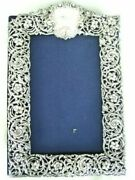 Antique Large Sterling Silver Repousse Pierced Floral Picture Mirror Frame On Ve