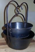 Antique 18th Century Cast Iron And Tin Deep Fat Fryer Double Boiler 10andrdquo Small Size