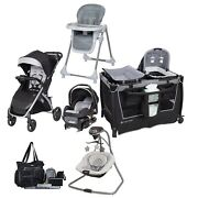 Compact Baby Stroller Combo Travel System With Car Seat Playard Swing Chair Bag
