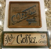 Hand Painted Wooden Country Primitive Coffee Signs Kitchen Decor Trails End Art