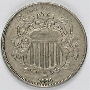 1866 Shield Nickel A Beautiful High Grade With Die Cuds And Repunched Date.