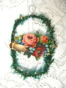 Vintage German Die Cut Tinsel With Green Beautiful On A White Feather Tree