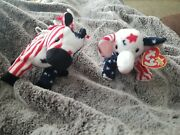 Retired Ty Beanie Babies Rare Duo Righty 2000 And Lefty 2000 Rare Tag Errors