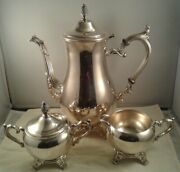 Wm Rogers Vintage Silver Plate Teapot Cream And Sugar Bowl 2600 Pineapple Finial