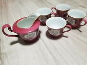 Noritake Lot N2005 1 Creamer And 4 Footed Tea Cups Burgandy White Rose Accents
