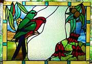 King Parrots And Sturt Desert Pea Authentic Stained Glass Australian Native Design