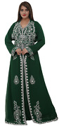 Floral Embroidered Tunisian Walima Gown Long Sleeve Dress By Maxim Creation 8421