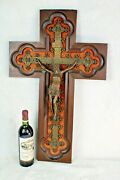 Huge Church Religious Neo Gothic Bronze Wood Carved Crucifix Rare