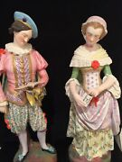 19th Ct. Antique Jean Gille French Pair Tall Bisque Figurines