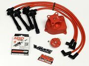 Distributor Cap + Rotor + Wires + Msd Spark Plugs For 92-95 Honda Civic Sohc Rd