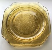 Vintage Federal Glass Madrid Amber Set Of 5 Luncheon Plates 8-7/8andrdquo Square 🌹