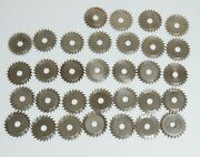 32pc Slitting Saw Lot 0.8mm To 4.5mm Thick 8mm Bore 35.7mm Diameter