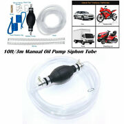 10ft/3m Portable Manual Oil Pump Siphon Tube Car Hose Fuel Extractor Transfer