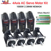 4axis Mach3 Controller 1kw 4nm Ac Servo Motor Driver Nema34 3m Cable For Milling