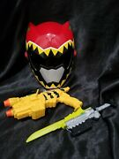 Power Ranger Dino Super Charge Morpher And Saber And Red Ranger Mask Cosplay Lot