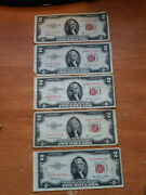 Lot 5 1953 2 Two Dollar Bill Red Seal Us Note
