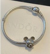 Authentic Pandora Sterling Silver Disney Mickey Bracelet Size 7.1 With Clip