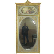 73 Tall Vintage Antique Sage Green And Gilt Hand Painted French Trumeau Mirror
