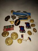 Large Assortment Military Medals Ribbons Badges Ww2 World War Ll Collection
