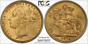 1879m St.george Reverse Sovereign Mcd157 S-3857 Long Tail In Pcgs Ms62