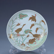 7.2 Old China Porcelain Qing Dynasty Yongzheng Mark Famille Rose Goose Plate