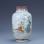 8.6 Old China Porcelain Qing Dynasty Qianlong Mark Famille Rose Baby Play Vase