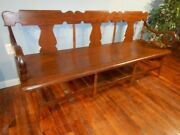Antique Country Settee Bench Wide Plank Seat Hall Porch Primitive Rustic
