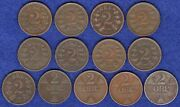Norway, 13x 2 Ore Coins, 1876-1920, 13 Coins Ref. T3278