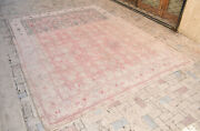 Turkish Oushak Rug 9and0396and039and039x12and0393and039and039 Vintage Muted Color Floral Primitive Carpet 9x12