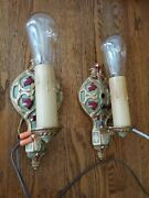 Pair Of Restored Antique 1920s Art Deco Nouveau Style Candle Wall Sconce Lights