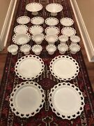 Anchor Hocking Old Colony Lace Edge Milk Glass 25 Pieces
