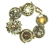 Gorgeous Patricia Locke 8 Bracelet Gold Plate Flax/thicket Crystals