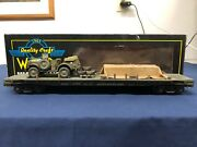 Weaver Custom Army 50' Flat Car W/ Jeep And Army Supplies 17058 Mth Lionel K-line