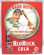 Classic Babe Ruth Red Rock Cola 5 Cents - Baseball Metal Sign, New