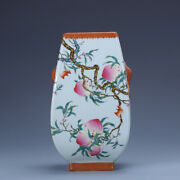 8.8 Old Chinese Porcelain Qing Dynasty Qianlong Mark Famille Rose Peach Vase